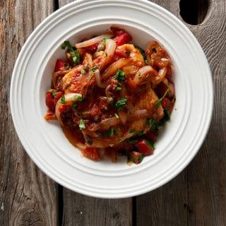 Italian glutton's style fish in a bowl
