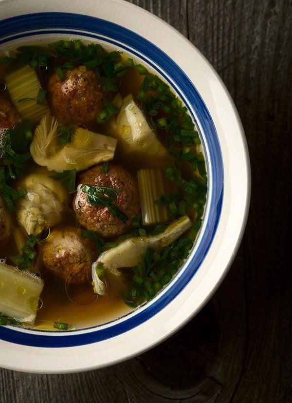 Pheasant meatballs soup recipe