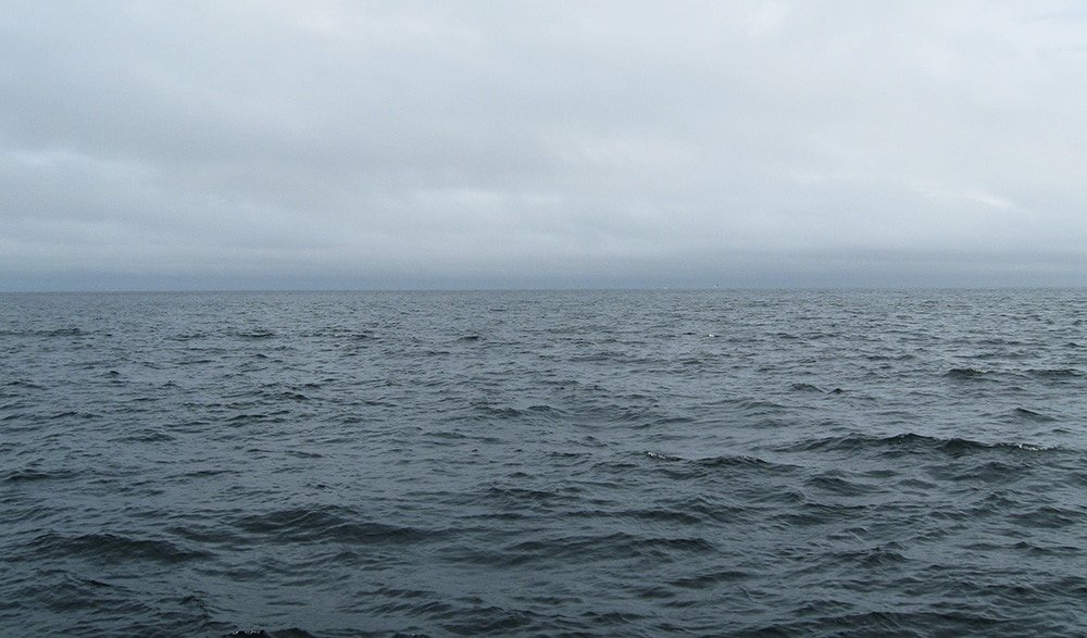 The gray ocean.