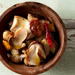 Italian marinated mushrooms in a bowl