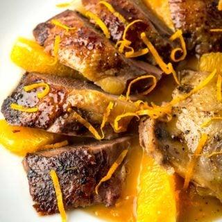 Closeup of duck a l'orange