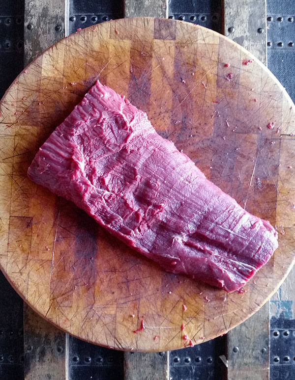 freshly cut flat iron steak