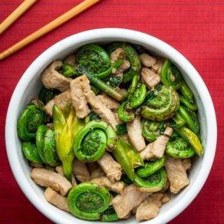 A Chinese fiddlehead recipe, a stir fry in a bowl