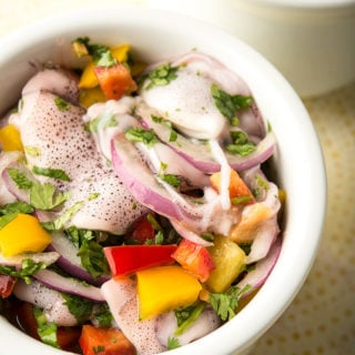 squid ceviche in bowl