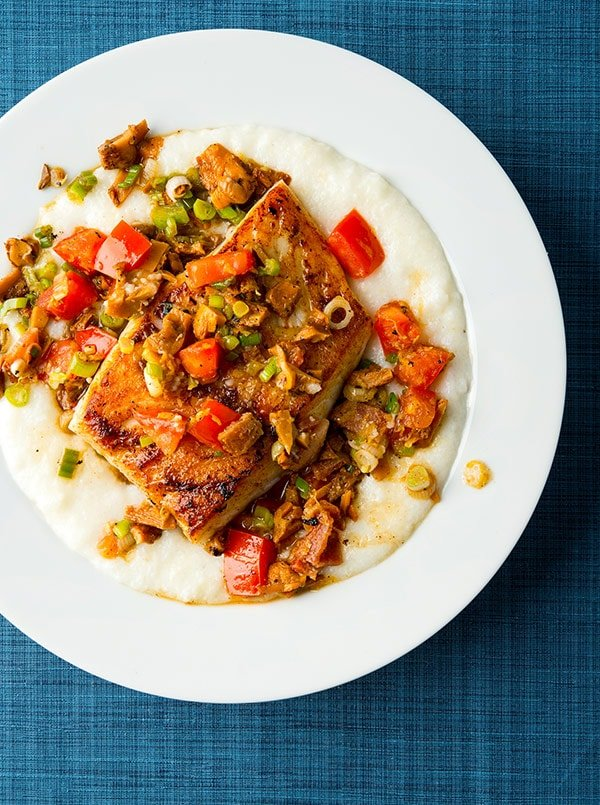 Southern fish and grits, made with tripletail