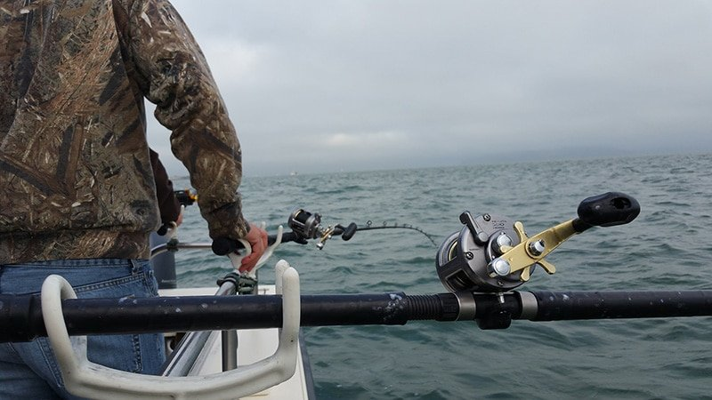 Watching the rods while halibut fishing