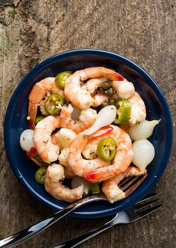 Southern style pickled shrimp in a bowl