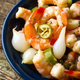 A bowl of pickled shrimp