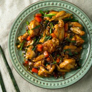 A plate of stir-fried frog legs