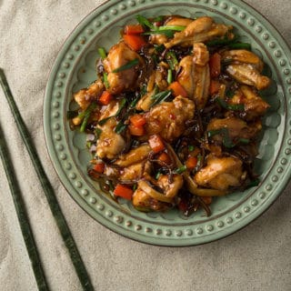 Stir fried frog legs on a plate