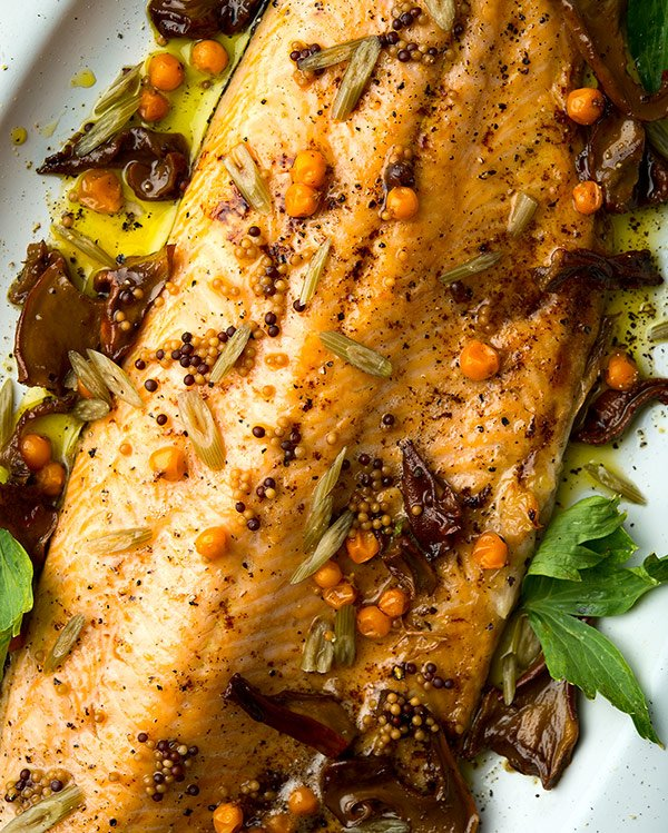 broiled trout, Nordic flavors