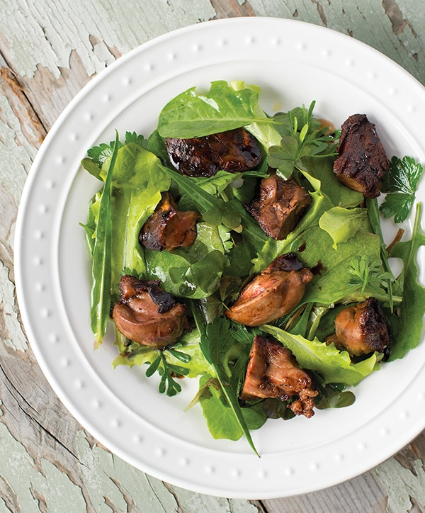 Simple seared duck liver recipe, served with a salad