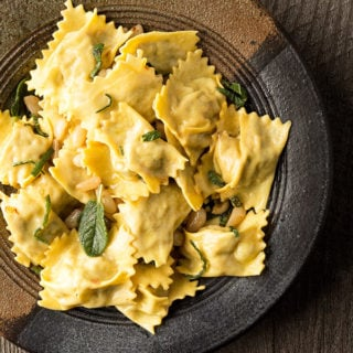 homemade agnolotti with meat