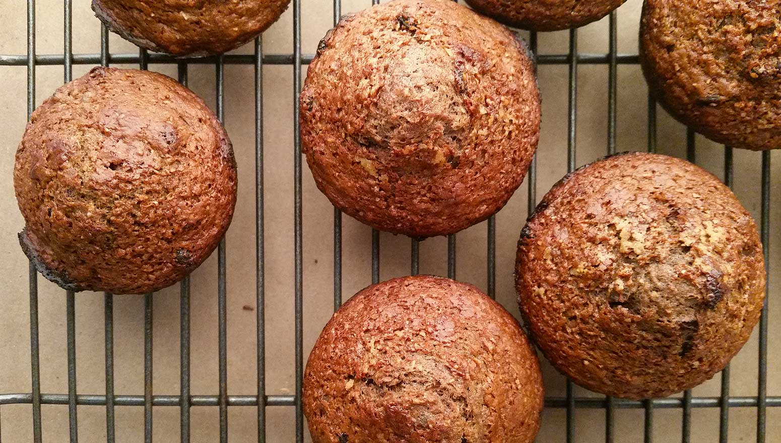 acorn muffins on a cooling rack