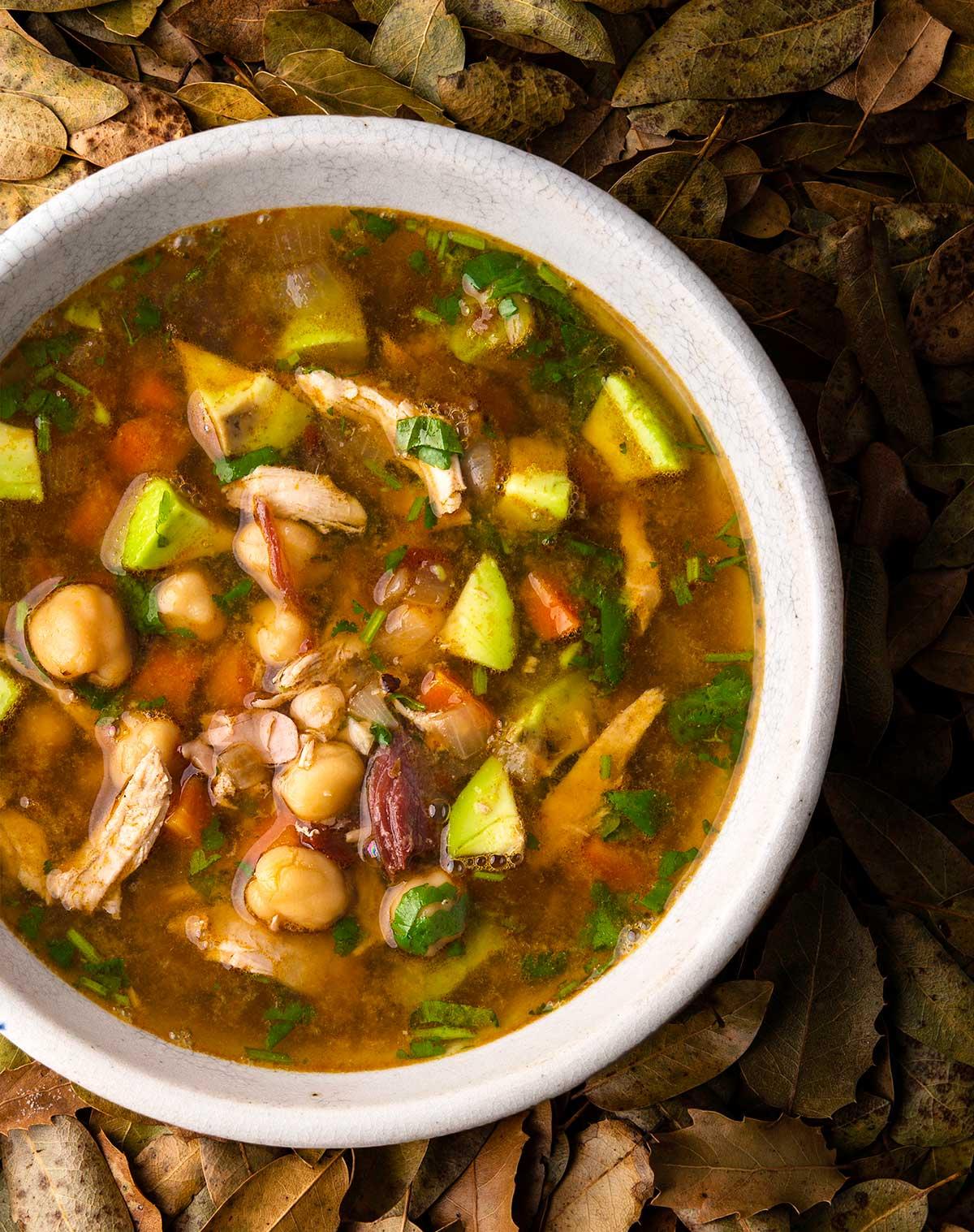 A bowl of caldo tlalpeno soup