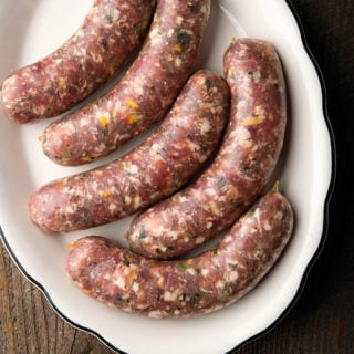 A platter of pheasant sausages.