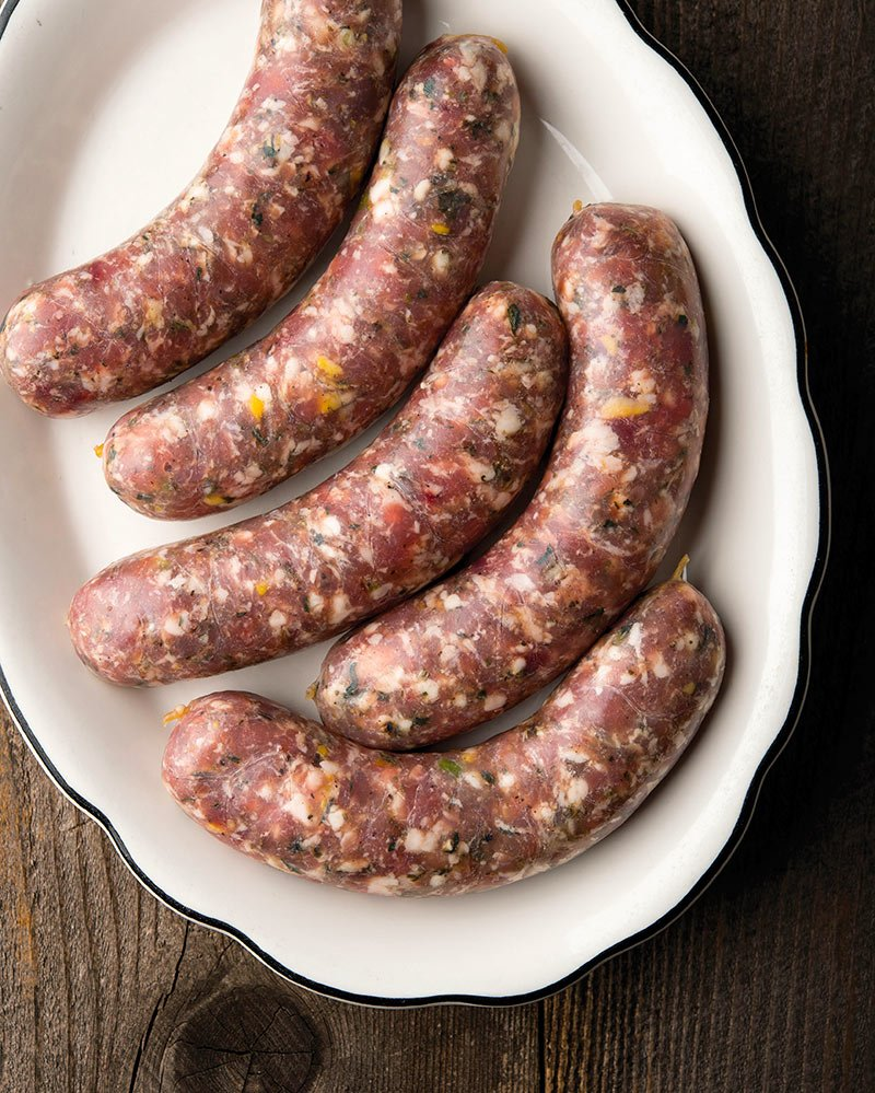 pheasant sausages on a platter