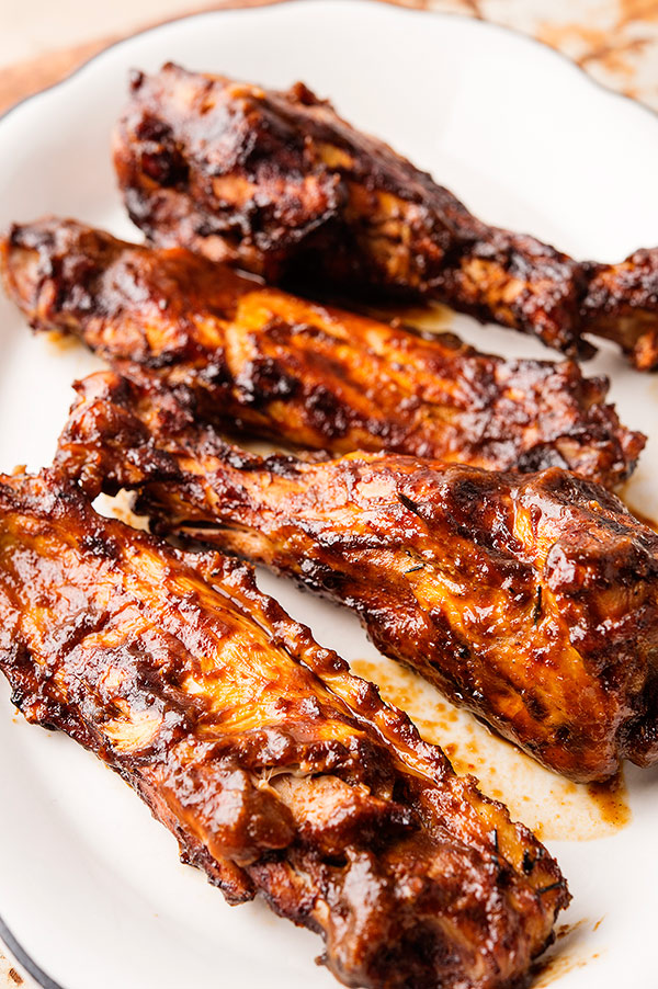 Closeup of smoked turkey wings recipe