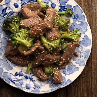 venison and broccoli on Chinese plate