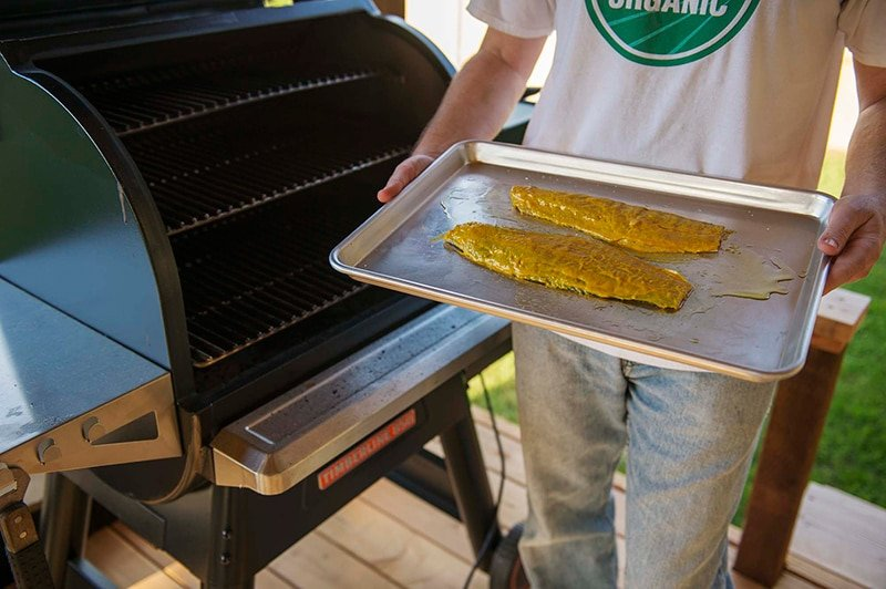 Barbecued fish on the Traeger