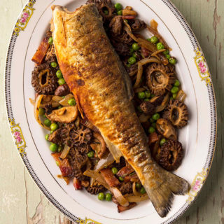 trout and morel mushrooms