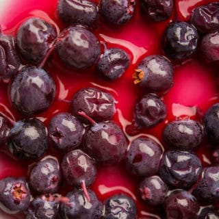 Closeup of pickled blueberries recipe