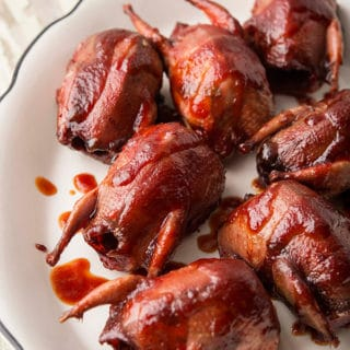 prickly pear BBQ sauce over grilled doves