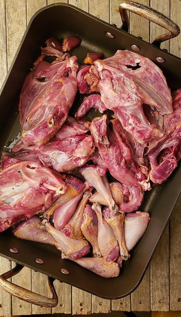 Bones for making pheasant stock