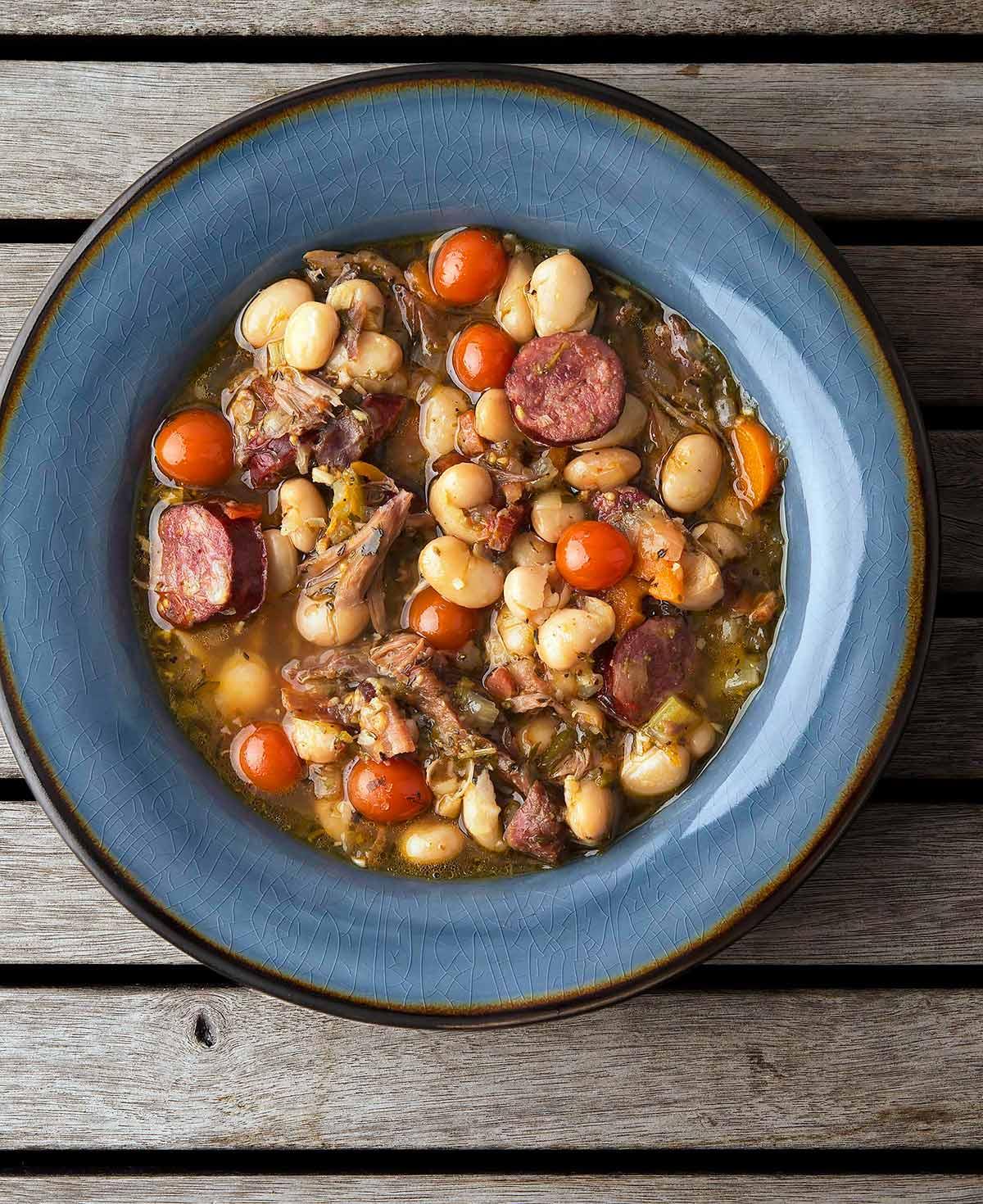 A bowl of turkey bean soup
