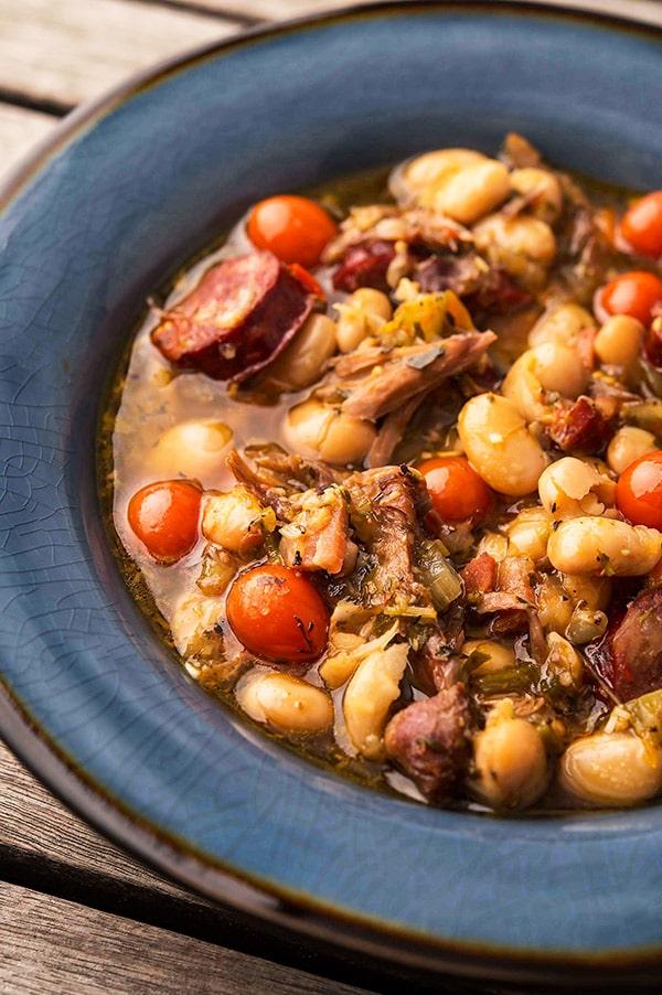 Turkey bean soup in a bowl