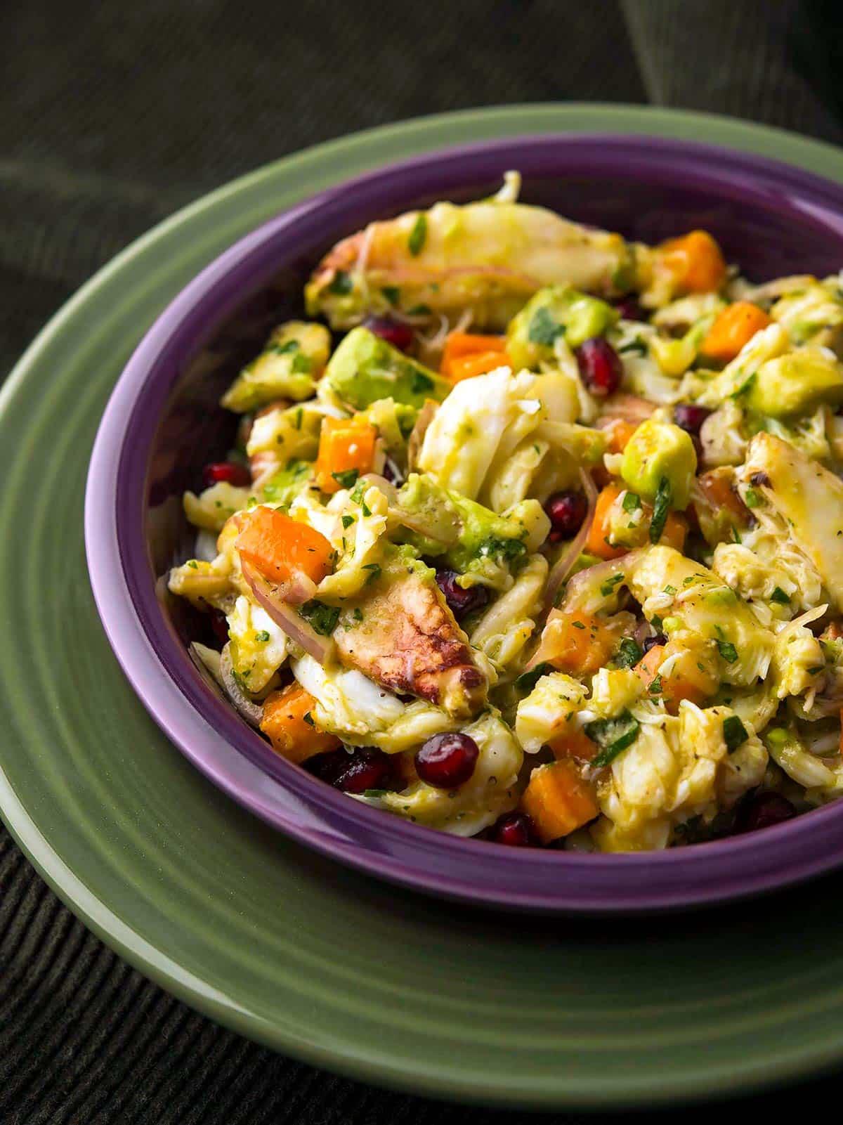 Closeup of a Dungeness crab salad
