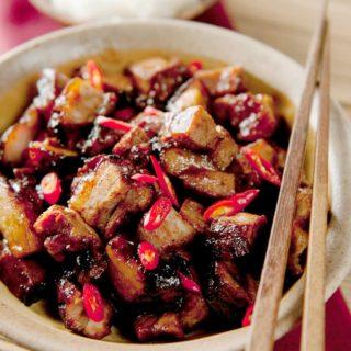 A bowl of char siu pork