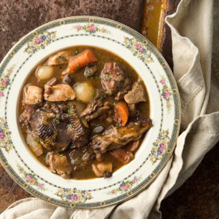 pheasant stew in the style of coq au vin