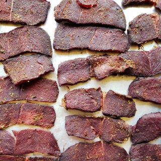 Carne seca, sliced and dried