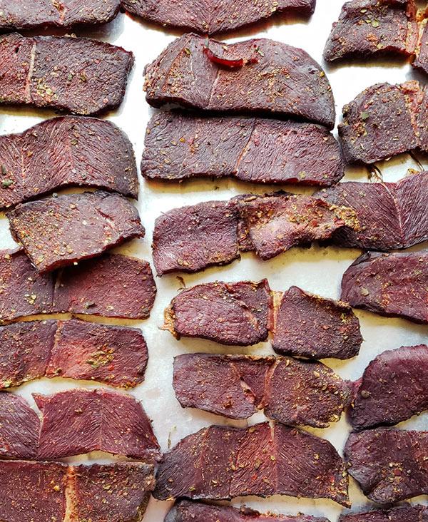 Carne seca, sliced and dried