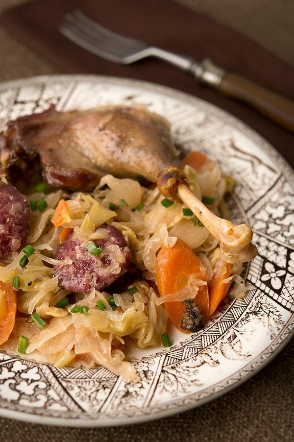 German braised duck with sauerkraut and sausage