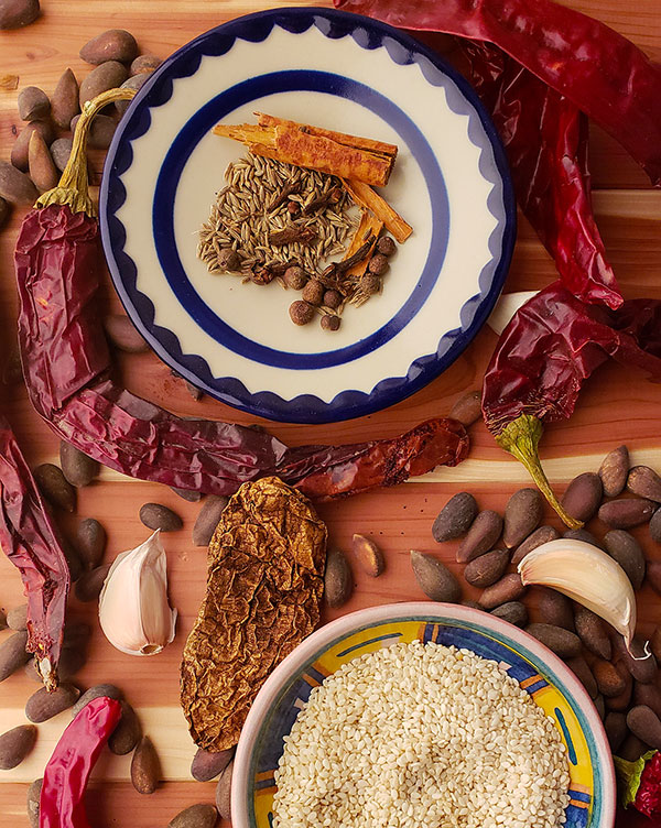 Ingredients for pipian rojo