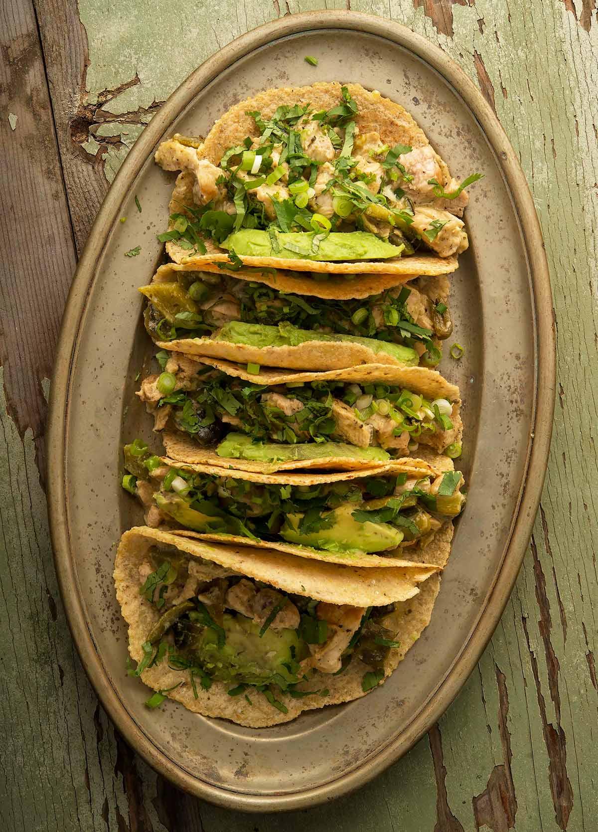 A platter of turkey tacos