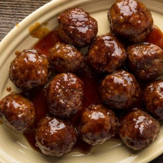 Maple glazed turkey meatballs on a platter.