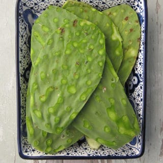 Uncooked nopales ready to cook
