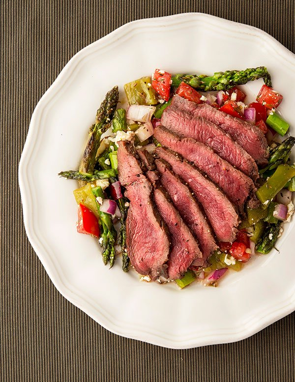 grilled flat iron steak recipe on a plate