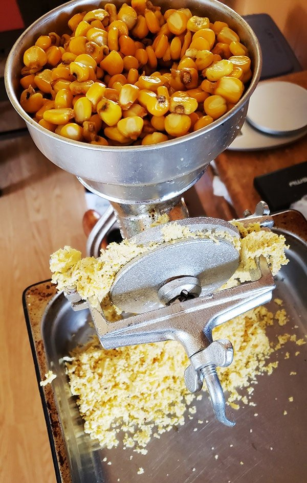 How to make corn tortillas - grinding nixtamal