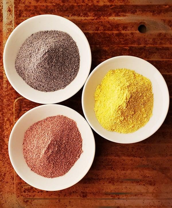 three kinds of homemade masa harina in bowls