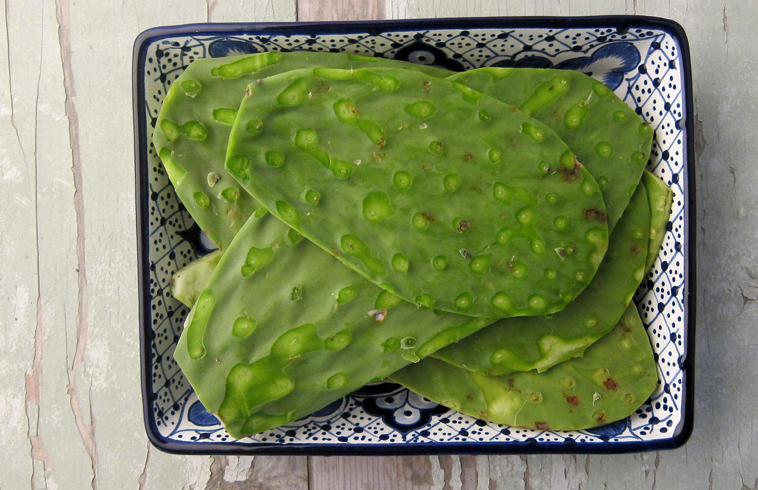 How to cook nopales, showing de-spined cactus paddles