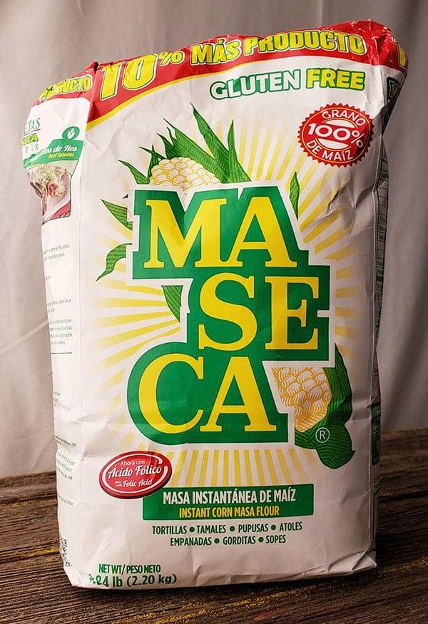 A bag of Maseca masa harina