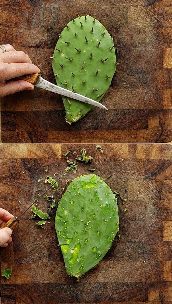 shaving spines off nopales