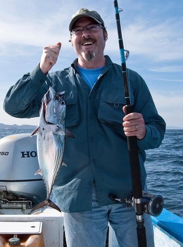 Hank Shaw with bonito fish