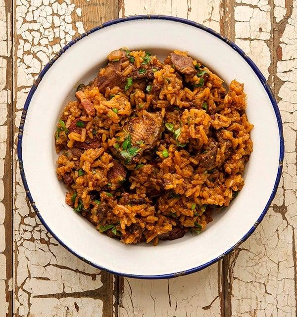 cajun jambalaya recipe in a bowl
