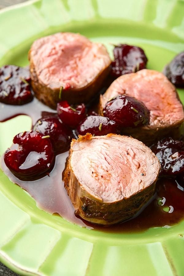 Closeup of cherry sauce for pork recipe