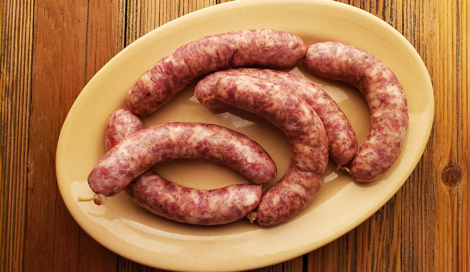 Butifarra sausages on a platter